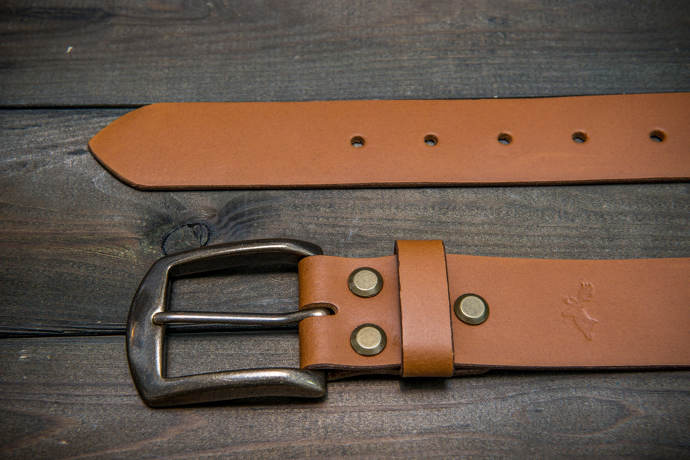 Men's Italian leather belt (3,5-4 mm thick), Tan color, width 40 mm - finwatchstraps