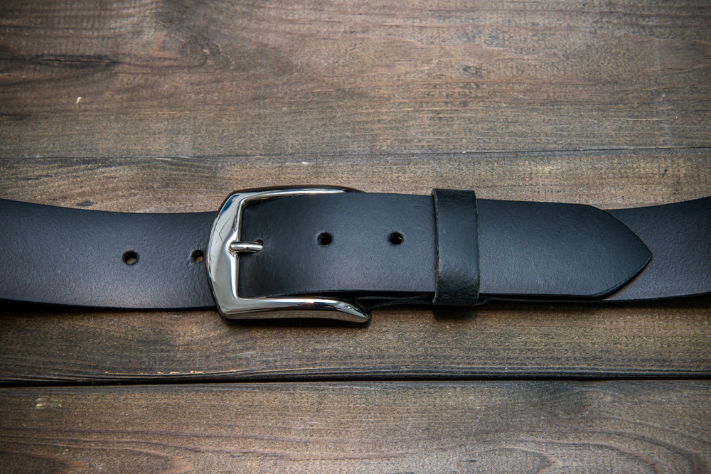 Men's Italian leather belt (3,5-4 mm thick), Black matte color, width 40 mm - finwatchstraps