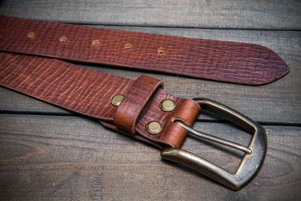 Men's Italian leather belt (3,5-4 mm thick), Torre bull cognac, width 40 mm - finwatchstraps
