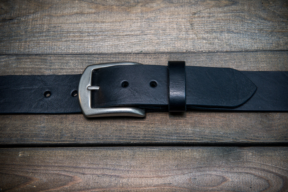 Men's Italian leather belt (3,5-4 mm thick), Torre bull black, width 40 mm - finwatchstraps