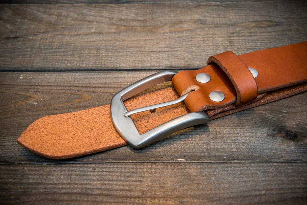 Men's Italian leather belt (3,5-4 mm thick), Oily Cognac, width 40 mm - finwatchstraps