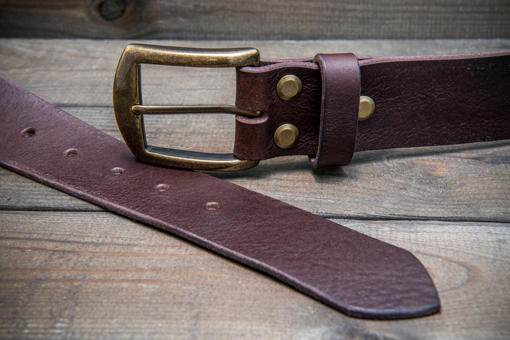 Men's Italian leather belt (3,5-4 mm thick), Dark Brown, width 40 mm - finwatchstraps