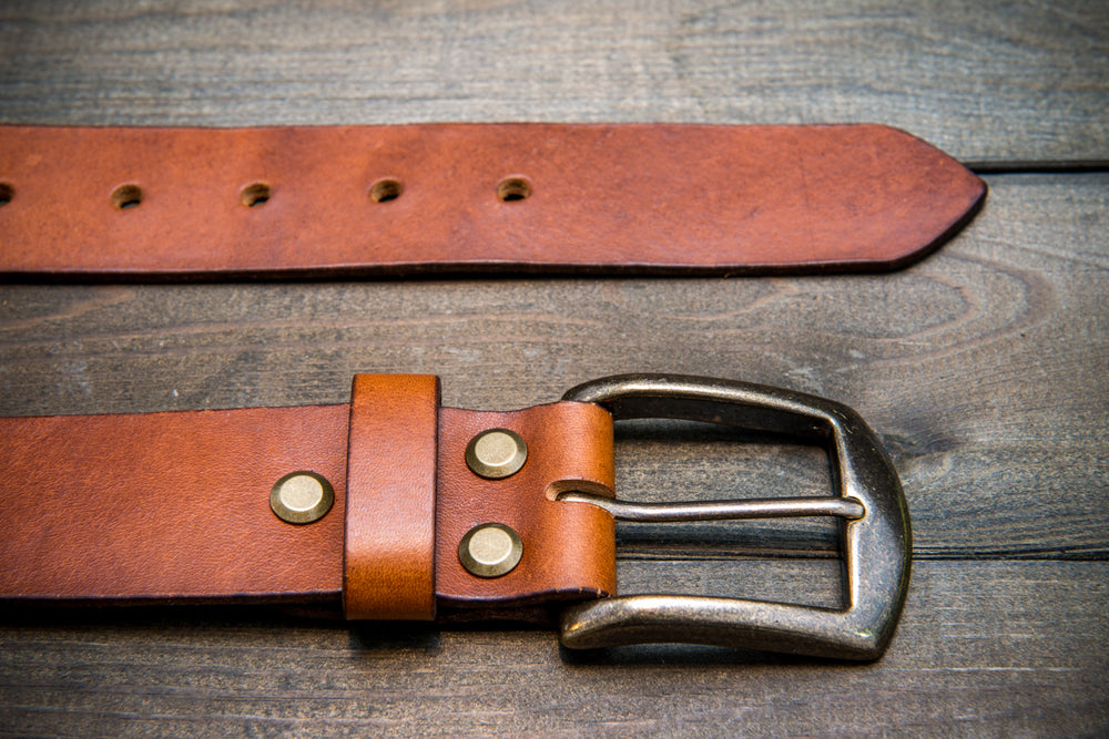 Men's Italian leather belt (3,5-4 mm thick), Cognac bull, width 40 mm - finwatchstraps