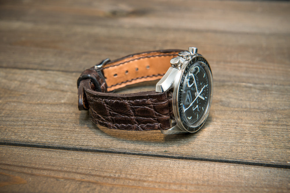 Alligator dark brown, handmade in Finland. - finwatchstraps