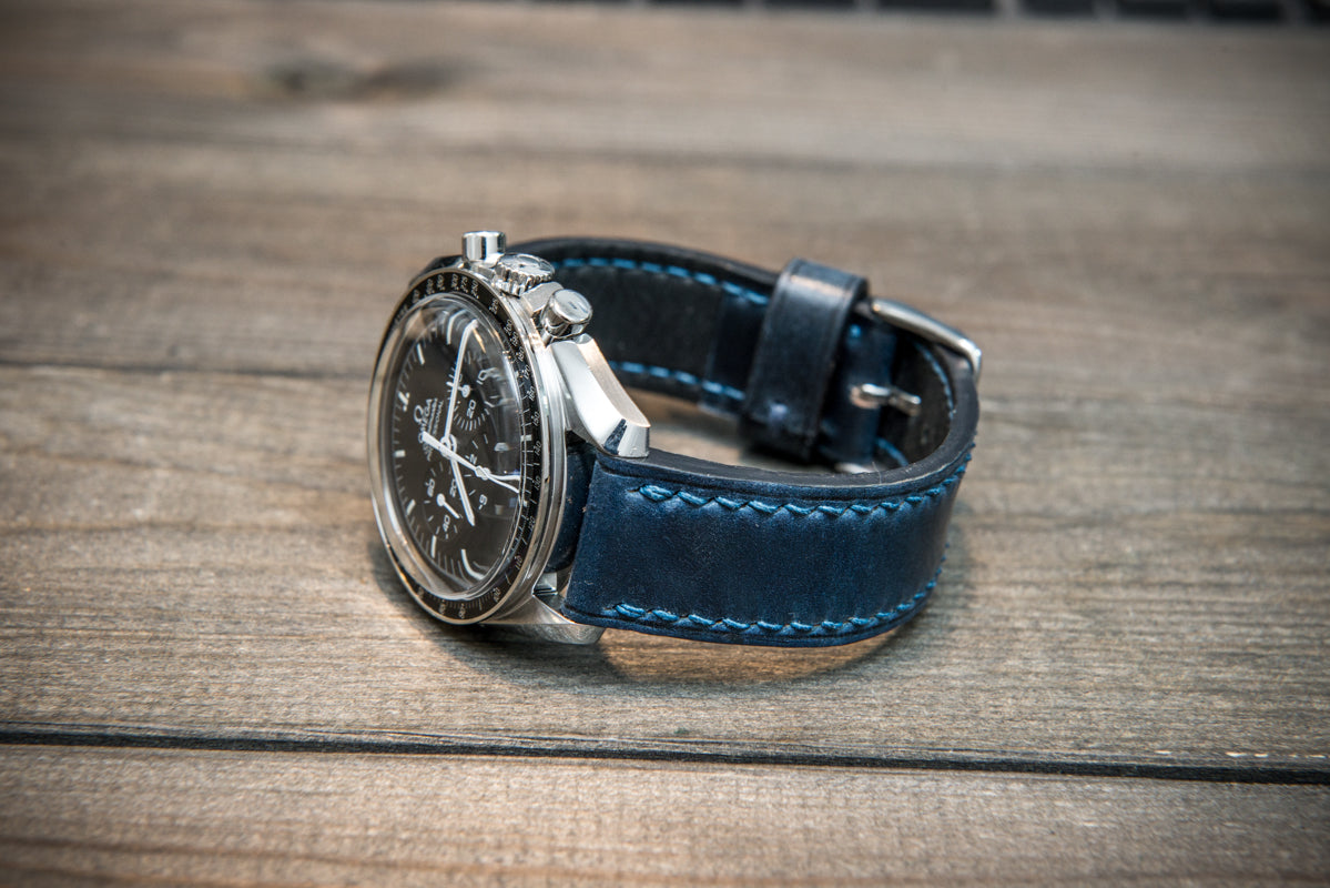 Shell Cordovan leather watch strap , Night Blue. Handmade in Finland - 10 mm, 12 mm, 14 mm, 16mm, 17 mm, 18mm, 19 mm, 20mm, 21 mm, 22mm, 23 mm, 24mm, 25 mm, 26 mm. - finwatchstraps