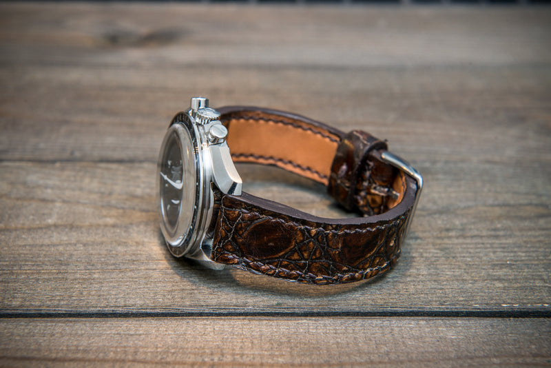Alligator watch strap, dark brown, handmade in Finland - finwatchstraps