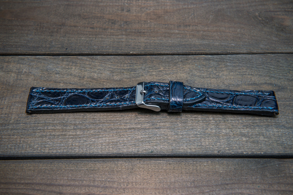 Alligator watch strap, Night Blue, handmade in Finland - finwatchstraps