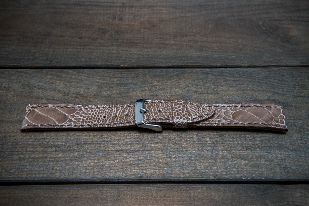 Ostrich legs leather watch straps/ Vintage beige/  handmade to order in Finland - finwatchstraps