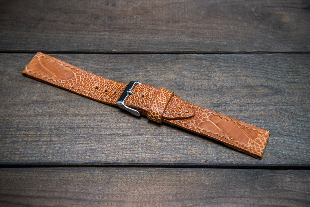 Ostrich legs leather watch straps/ Light Cognac/  handmade to order in Finland - finwatchstraps
