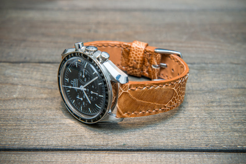 Ostrich legs leather watch straps/ Light Cognac/  handmade to order in Finland