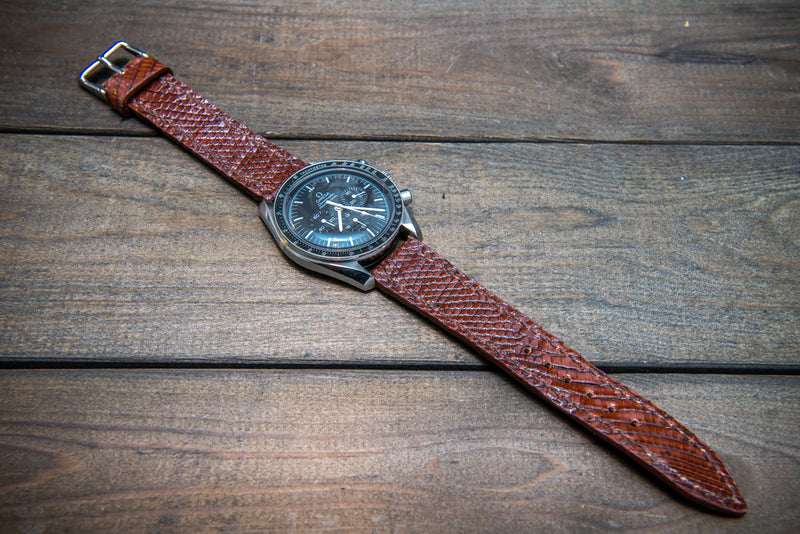 Lizard leather watch strap, Dark brown color - finwatchstraps