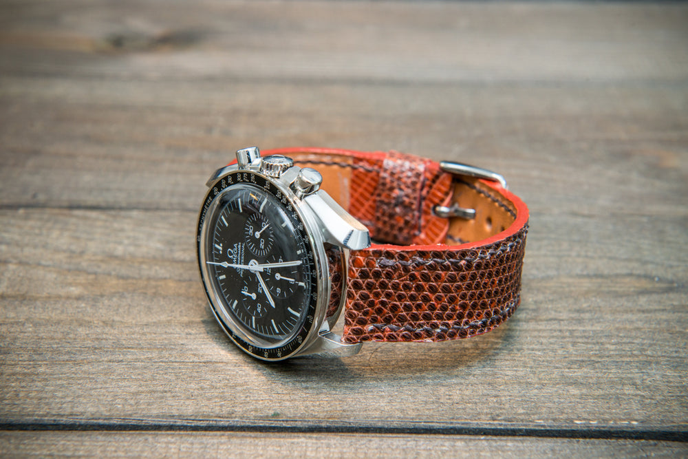 Lizard leather watch strap, Terracotta color. - finwatchstraps