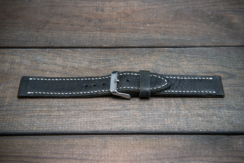 Reindeer leather watch band, Dark Forest, hand-stitched, handmade in Finland -17 mm, 18 mm, 19 mm, 20 mm, 21 mm,22mm, 23 mm,24 mm, 25 mm, 26mm - finwatchstraps