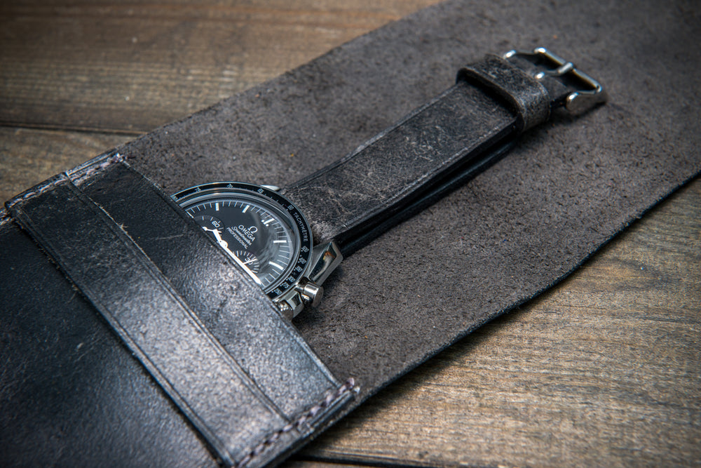 Suede leather watch roll / watch case for wrist watch organizing, Crazy Cow, Smokey grey - 1 pocket - finwatchstraps