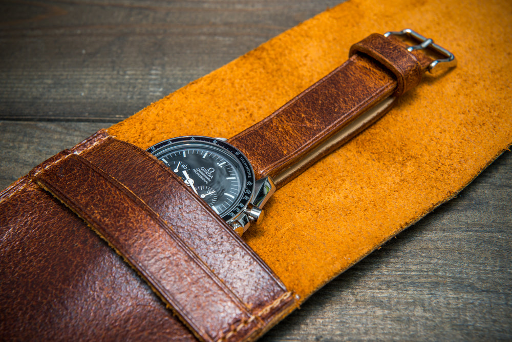 Suede leather watch roll / watch case for wrist watch organizing, Crazy Cow - 1 pocket - finwatchstraps