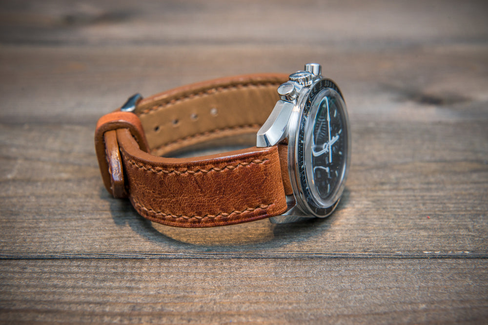 Dublin Cognac Horween Leather watch band. Hand-stitched with french lin. Made to order in Finland. - finwatchstraps