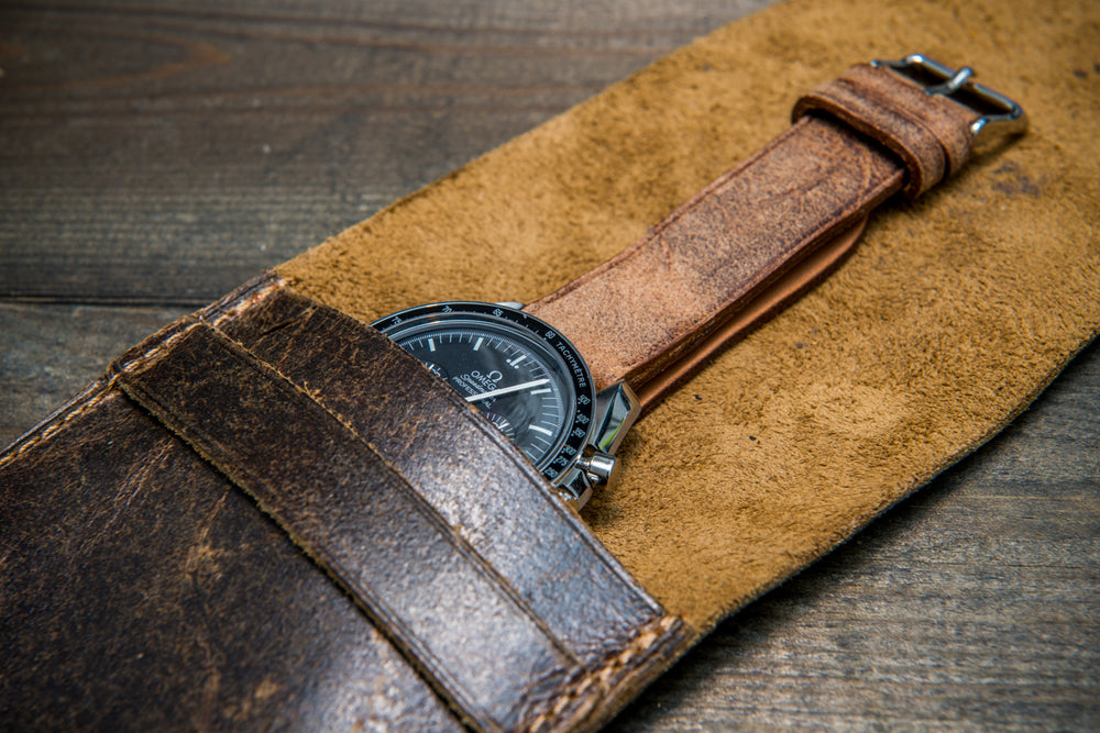 Suede leather watch roll / watch case for wrist watch organizing, Crazy Cow, Teak - 1 pocket - finwatchstraps