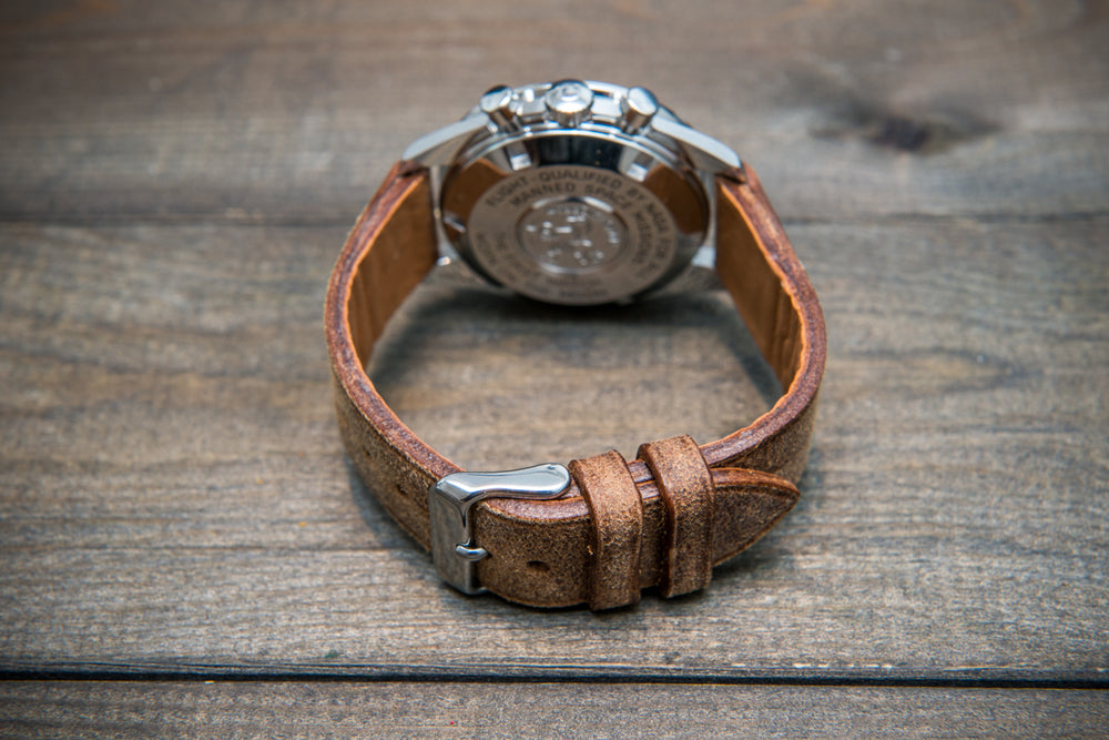 Suede vintage leather watch strap (Crazy Cow, Cognac Mohawk), handmade in Finland -14 mm, 15 mm, 16mm, 17 mm, 18mm, 19 mm, 20mm, 21mm, 22mm, 23 mm,  24mm, 25 mm, 26 mm. - finwatchstraps