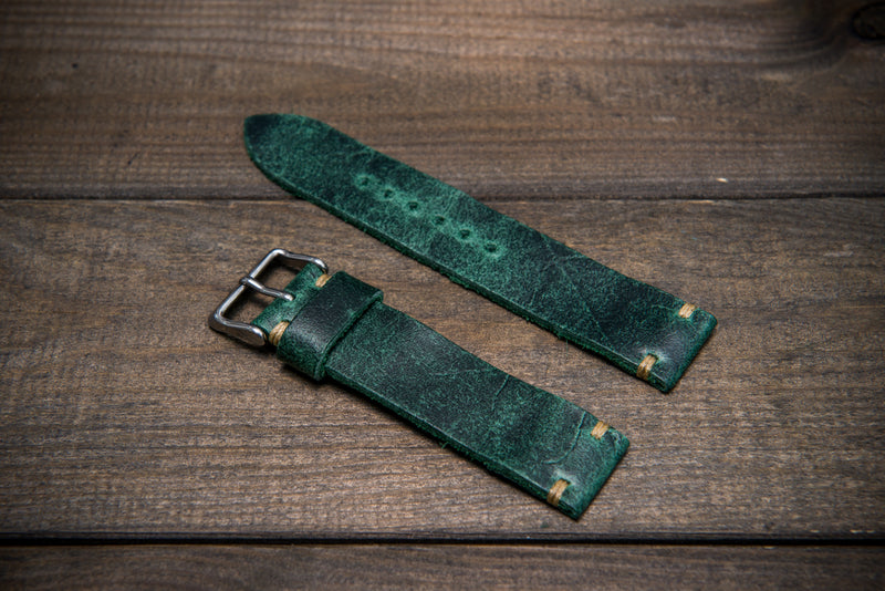 Suede vintage leather watch strap (Crazy cow), handmade in Finland - 10mm, 11 mm,  12 mm, 13 mm,  14 mm, 15 mm, 16mm, 17 mm, 18mm, 19 mm, 20mm, 21mm, 22mm, 23 mm,  24mm, 25 mm, 26 mm. - finwatchstraps