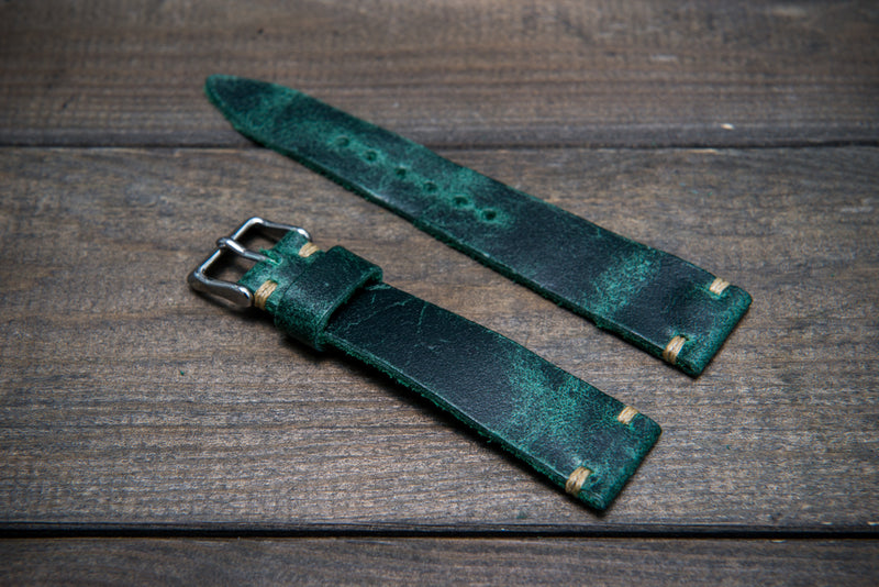 Suede vintage tapered leather watch strap (Crazy cow, green), handmade in Finland.