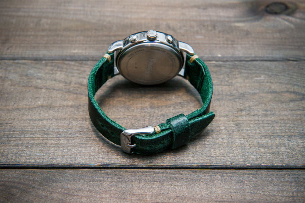 Suede vintage tapered leather watch strap (Crazy cow, green), handmade in Finland. - finwatchstraps
