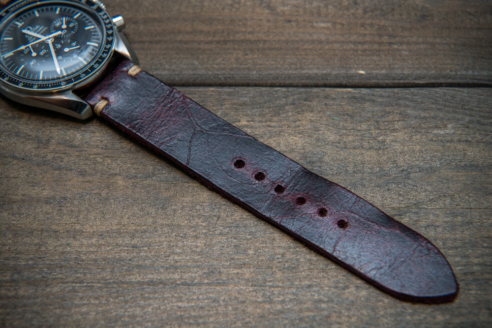 Suede vintage leather watch strap (Crazy cow) Burgundy, 20 mm, 120-80 mm, handmade in Finland, 1 leather keeper - finwatchstraps