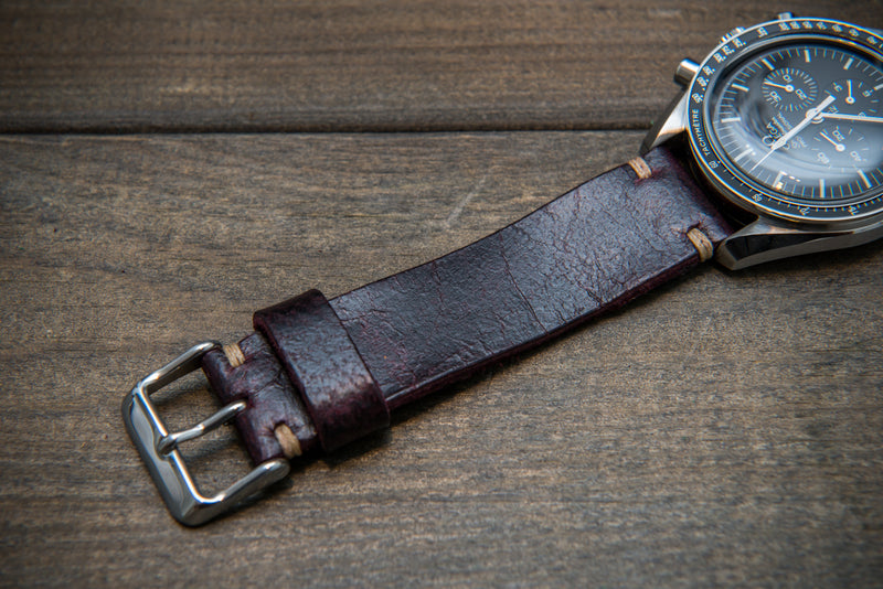 Suede vintage leather watch strap (Crazy cow) Burgundy, handmade in Finland, 1 leather keeper - finwatchstraps