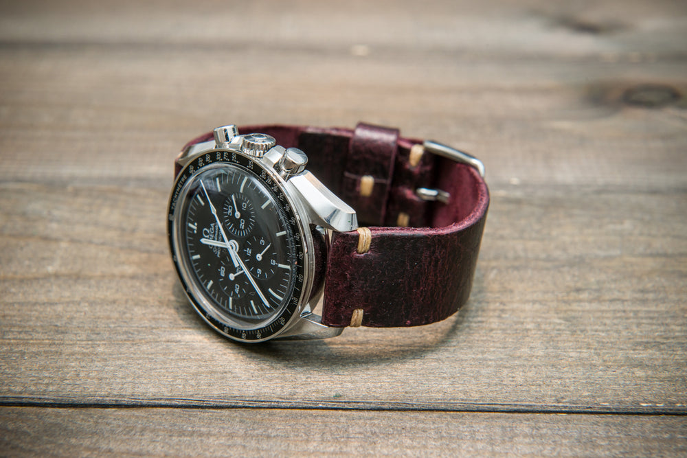 Suede vintage leather watch strap (Crazy cow) Burgundy, handmade in Finland, 1 leather keeper