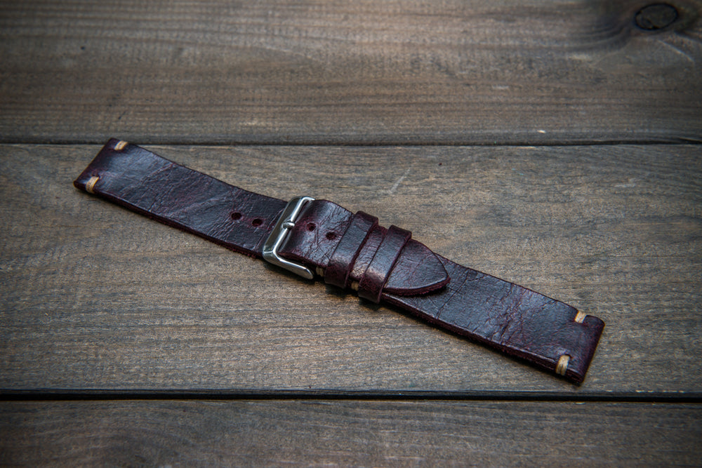 Suede vintage leather watch strap (Crazy cow) Burgundy, handmade in Finland, 2 leather keepers - finwatchstraps