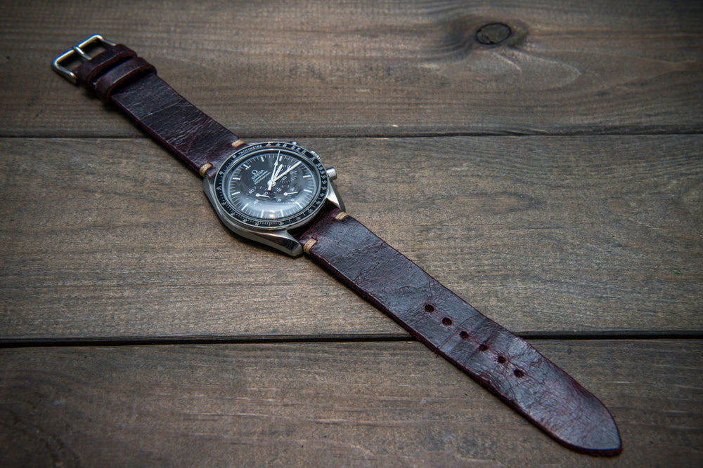 Suede vintage leather watch strap (Crazy cow) Burgundy, handmade in Finland, 2 leather keepers