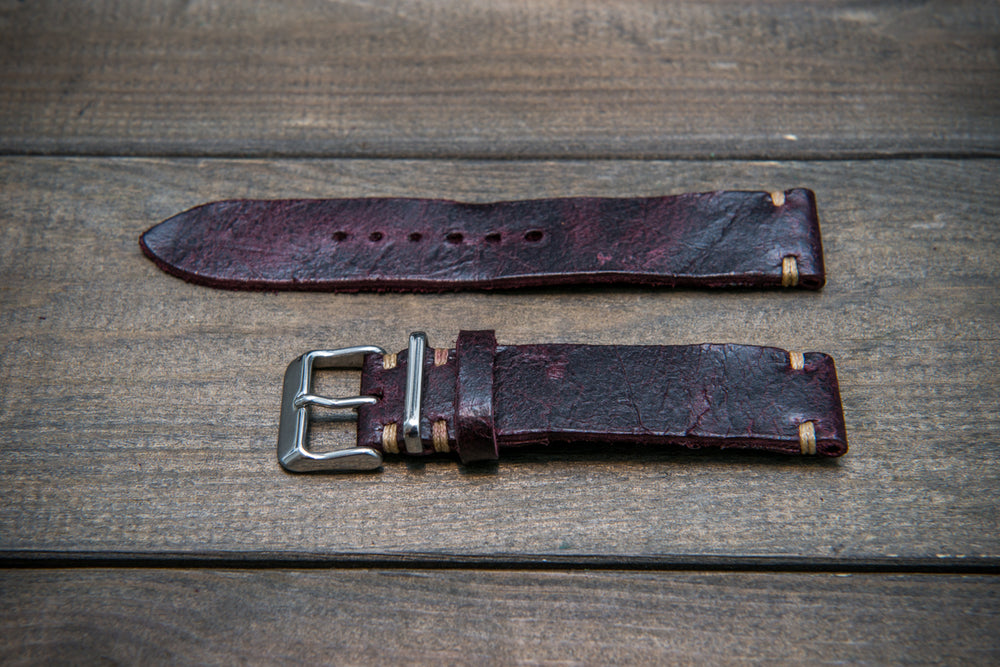 Suede vintage leather watch strap (Crazy cow) Burgundy, handmade in Finland - 16mm, 17 mm, 18mm, 19 mm, 20mm, 21mm, 22mm, 23 mm,  24mm, 25 mm, 26 mm. - finwatchstraps