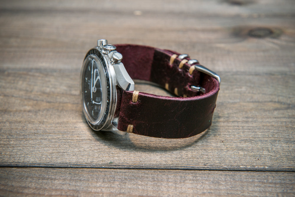 Suede vintage leather watch strap (Crazy cow) Burgundy, handmade in Finland - 16mm, 17 mm, 18mm, 19 mm, 20mm, 21mm, 22mm, 23 mm,  24mm, 25 mm, 26 mm.