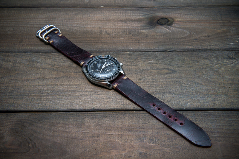 Suede vintage leather watch strap (Crazy cow, Burgundy), Zulu buckle, handmade in Finland - finwatchstraps