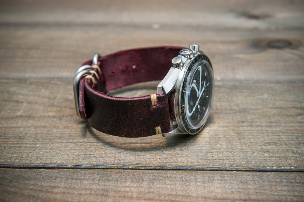 Suede vintage leather watch strap (Crazy cow, Burgundy), Zulu buckle, handmade in Finland