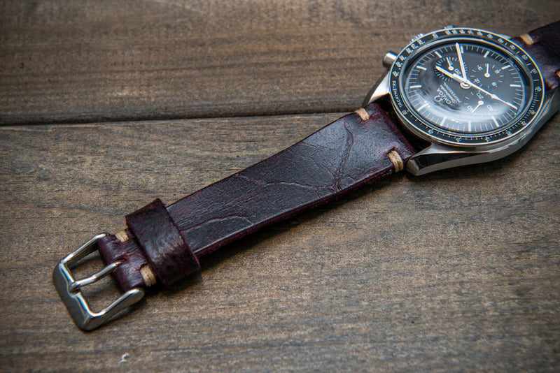 Suede vintage tapered leather watch strap (Crazy cow, Burgundy), handmade in Finland.