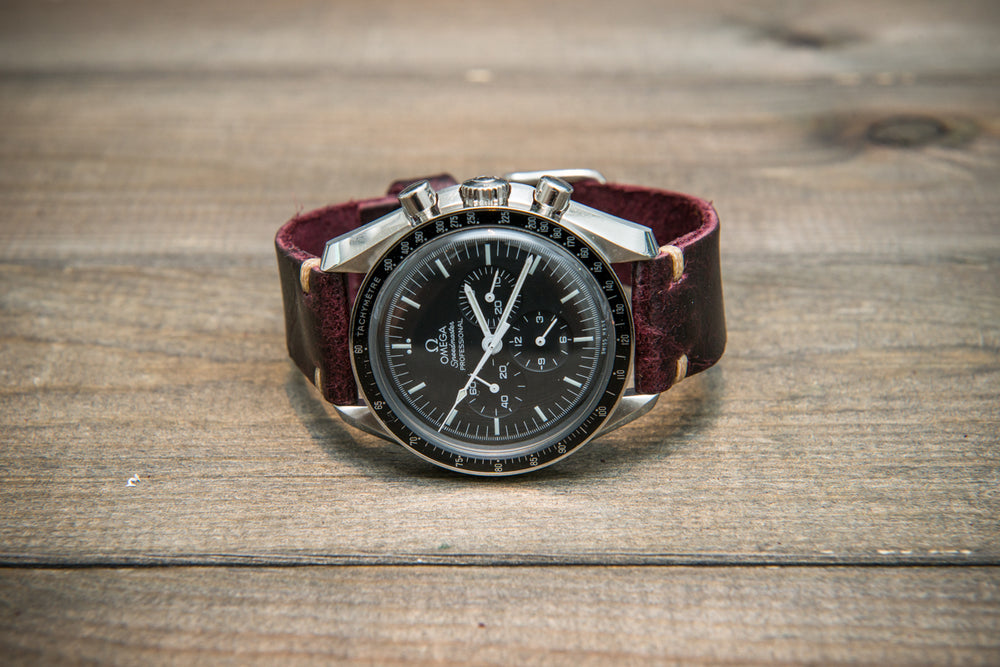 Suede vintage tapered leather watch strap (Crazy cow, Burgundy), handmade in Finland. - finwatchstraps