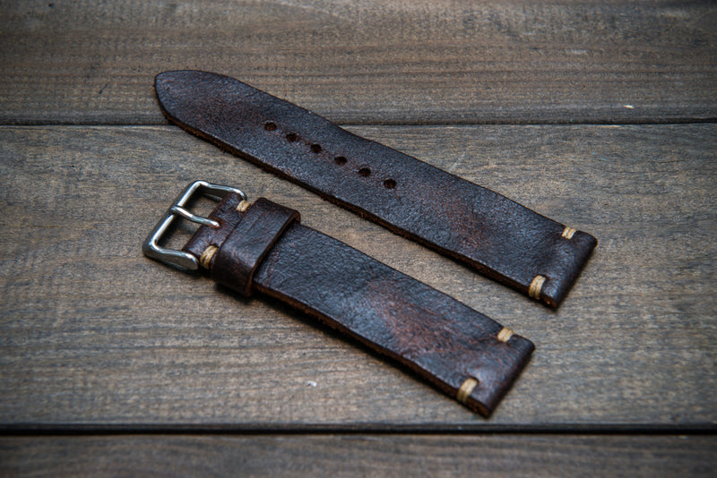 Suede vintage leather watch strap (Crazy cow) Snuff, handmade in Finland - 10mm, 12 mm, 14 mm, 16mm, 17 mm, 18mm, 19 mm, 20mm, 21mm, 22mm, 23 mm,  24mm, 25 mm, 26 mm.