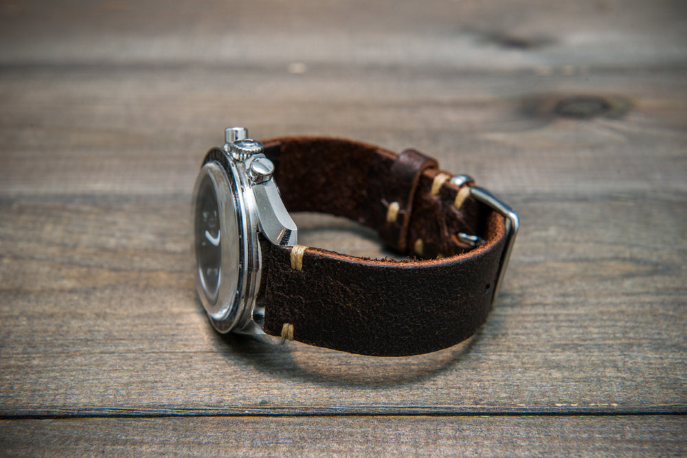 Suede vintage leather watch strap (Crazy cow) Snuff, handmade in Finland - 16mm, 17 mm, 18mm, 19 mm, 20mm, 21mm, 22mm, 23 mm,  24mm, 25 mm, 26 mm. - finwatchstraps