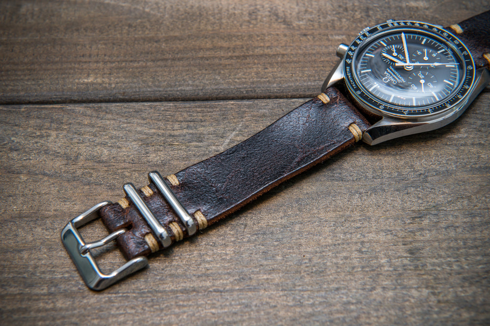 Suede vintage leather watch strap (Crazy cow) Snuff, handmade in Finland - 16mm, 17 mm, 18mm, 19 mm, 20mm, 21mm, 22mm, 23 mm,  24mm, 25 mm, 26 mm.