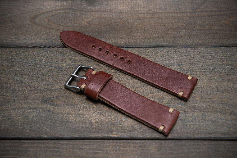 Vachetta leather watch strap,  Puimino Timto Bruciato, thickness 3 mm, 10-26 mm
