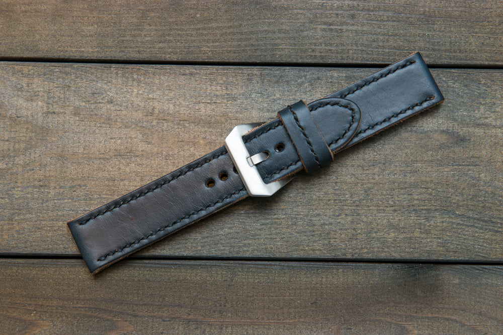 Navy Blue leather watch strap, Panerai watch band,  handmade in Finland - 18mm, 19 mm, 20mm, 21 mm, 22mm, 23 mm, 24mm, 25 mm, 26 mm. - finwatchstraps
