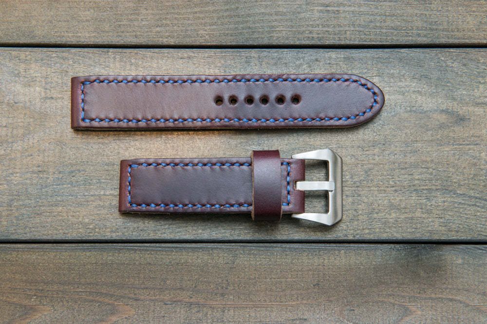 Burgundy leather watch strap, Horween Chromexcel no 8 watch band,  handmade in Finland - 18mm, 19 mm, 20mm, 21 mm, 22mm, 23 mm, 24mm, 25 mm, 26 mm. - finwatchstraps