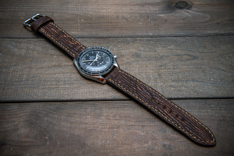 Leather watch strap, Dark brown matte shark