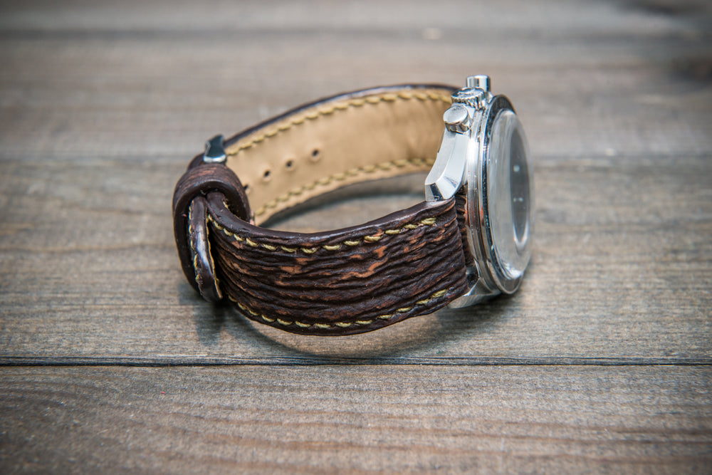 Shark leather watch strap, Dark brown matte - finwatchstraps