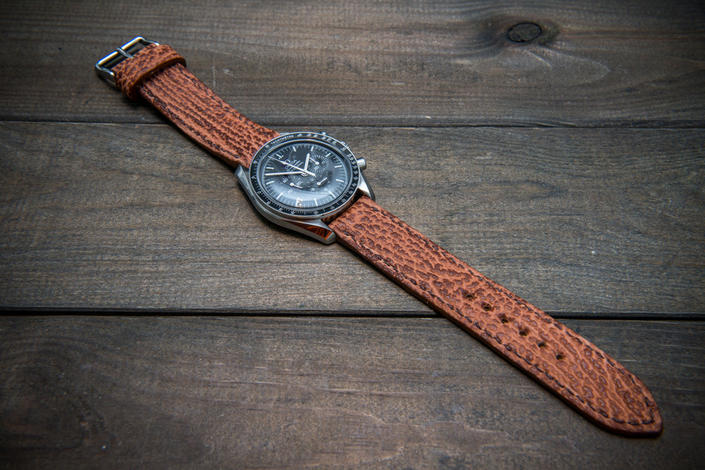 Shark leather watch strap, Light brown matte - finwatchstraps