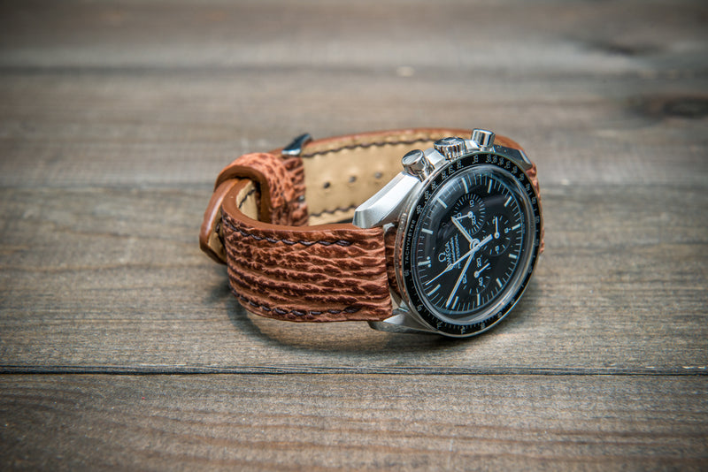 Leather watch strap, Light brown  matte shark