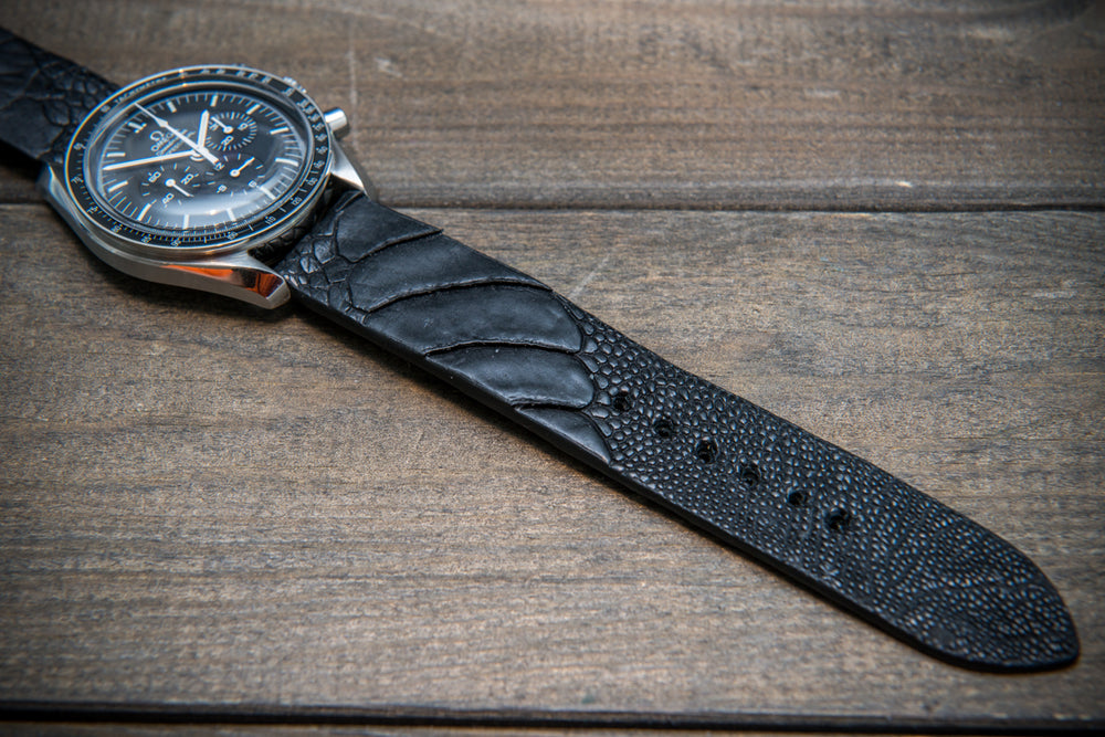 Ostrich legs leather watch straps/ Black matte/  handmade to order in Finland - finwatchstraps