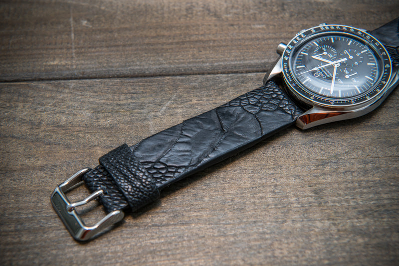 Ostrich legs leather watch straps/ Black matte/  handmade to order in Finland