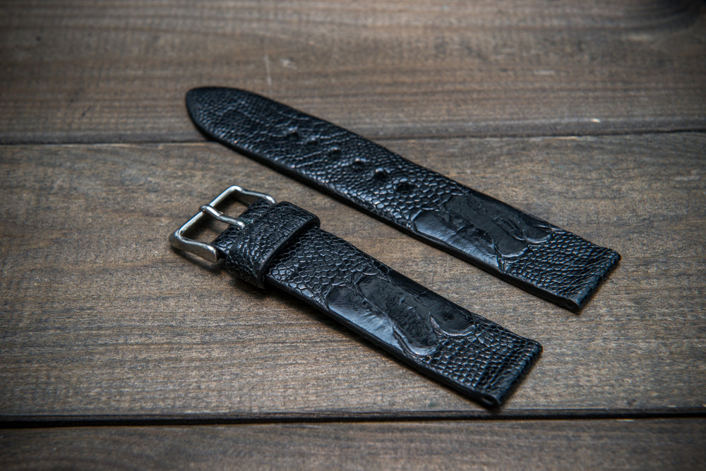 Ostrich legs leather watch straps/ Black/  handmade to order in Finland