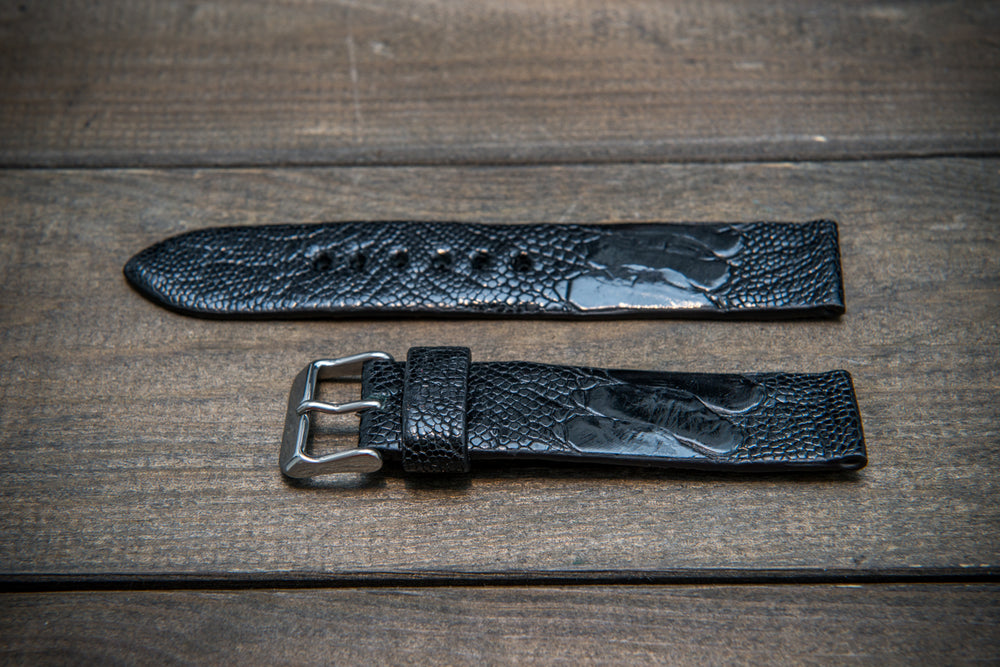 Ostrich legs leather watch straps/ Black/  handmade to order in Finland - finwatchstraps